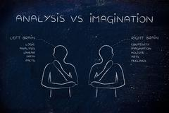 Men with left and right brain captions, analysis vs imagination Stock Illustration