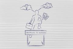 Creative vs analytical thoughts, businessman & obstacle Stock Illustration