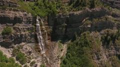 Aerial shot of of bridal veil waterfall Stock Footage