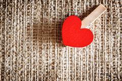 Red heart burlap Stock Photos
