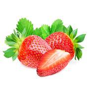 Three strawberries isolated Stock Photos