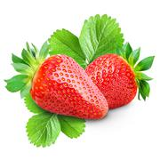 Two strawberries isolated Stock Photos