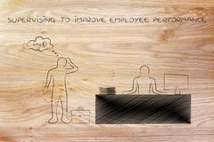 Supervisor to improve bad employee performance Stock Illustration