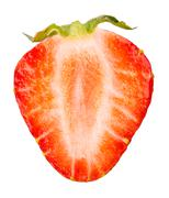 Chopped strawberries isolated on white background Stock Photos