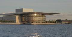 The Copenhagen Opera House on the shore Stock Footage