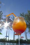 Tequila sunrise at seaside Kho Khood Thailand Stock Photos