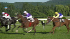 Horses galloping with the riders on them. Focus on Nature Stock Footage