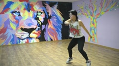 Open Lesson, young and beautiful dancing - studio modern dance style Stock Footage