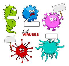 Colorful Evil Viruses Stock Illustration