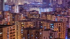 High-density apartment block houses at night. Stock Footage
