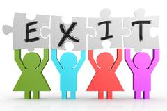 Four people hold puzzle with exit word. Stock Illustration