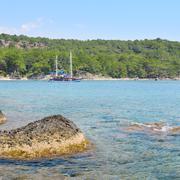 beautiful seascape and pleasure boat - stock photo
