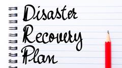 DRP Disaster Recovery Plan written on notebook - stock photo