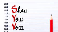 SYV Share Your Voice written on notebook page - stock photo