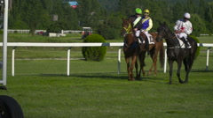 a hippodrome before a horse race starting  Slow Motion 125fps - stock footage