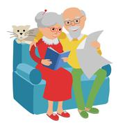 Happy senior man woman family sitting on the sofa read and rest. Vector Stock Illustration