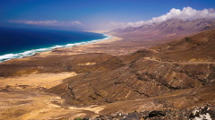 View to Cofete beach on Fuerteventura, second biggest Canary island, Spain. - stock footage