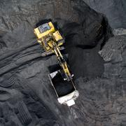 Coal mining on open pit Stock Photos