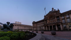 Birmingham, England - Victoria Square. Early morning time lapse. Full 4K Stock Footage