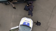 Aerial, police detained the offender Stock Footage