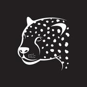 Vector image of an cheetah face on black background. Vector cheetah face for  - stock illustration