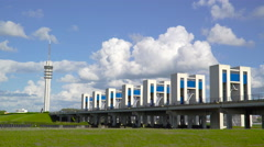 Time lapse Houtribdijk and sluices Stock Footage