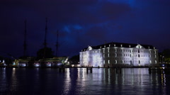 Scheepvaartmuseum and VOC the Amsterdam by night real time 02-07-2016 - stock footage
