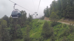 Cable Car in Rain and Fog Stock Footage