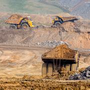 Big yellow mining truck Stock Photos