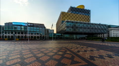 Birmingham, England. Centenary Square rotating time lapse. 4K Stock Footage