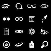 Vector white optometry icon set - stock illustration