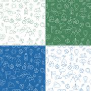 Seamless pattern with Ecotourism design elements Stock Illustration