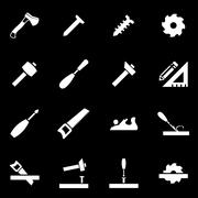 Vector white carpentry icon set Stock Illustration