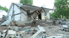 Isolated Exterior Shot on Home of Flood Damage Stock Footage