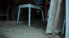 Isolated Shot of Furniture in House Destroyed by Flood Waters Stock Footage