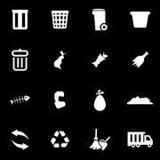 Vector white garbage icon set Stock Illustration