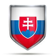 Shield with flag Slovakia - stock illustration