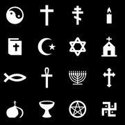 Vector white religion icon set Stock Illustration