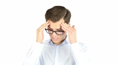Stressed man upset frustrated isolated headache pain Stock Footage