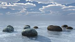 Sea stone afternoon view Stock Illustration