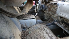 Interior Shot of Cars Damaged in Flood Waters Stock Footage