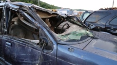 Camera Moves into Interior Shot of Cars Damaged in Flood Waters Stock Footage