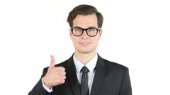 Success and winning concept - happy business man  giving thumbs up Stock Footage
