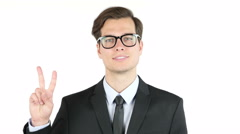 Employer satisfied with his profit, income, earnings, Victory Sign Stock Footage