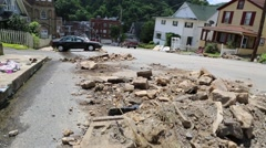 Rubble in Street of West Virginia Town after the June 2016 Floods Stock Footage