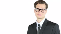 Adult business man smiling looking at the camera Stock Footage