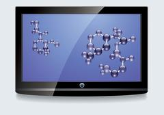 LCD screen with blue display Stock Illustration