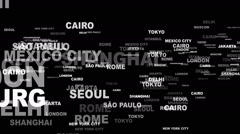 WORLD CITIES Keywords, Background Overlays, Alpha Channel, Loop, 4k - stock footage