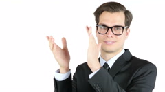 Cheerful smiling businessman , clapping ,success and achievement concept - stock footage