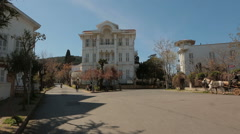 Beautiful streets and mansion houses of Buyukada Stock Footage